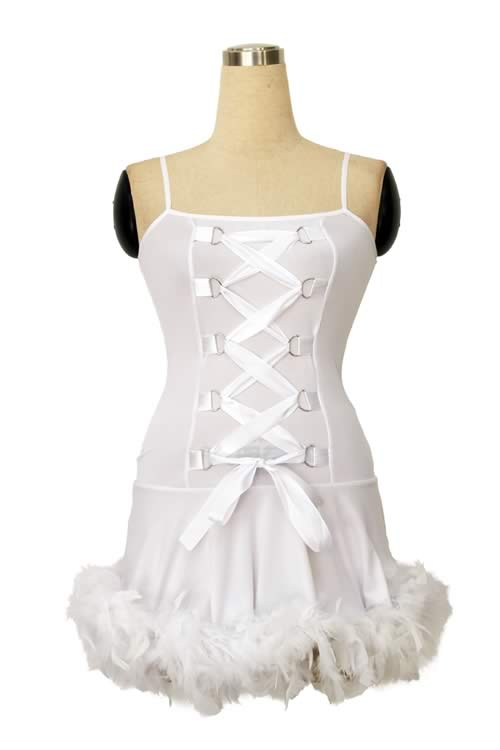 White Lace up Dress Angel Costume for Girl