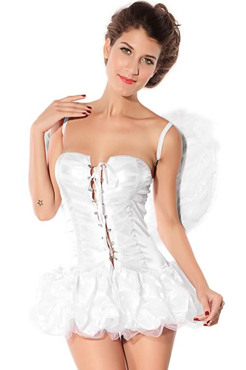 Halloween Girl Lace up Angel Costume in White