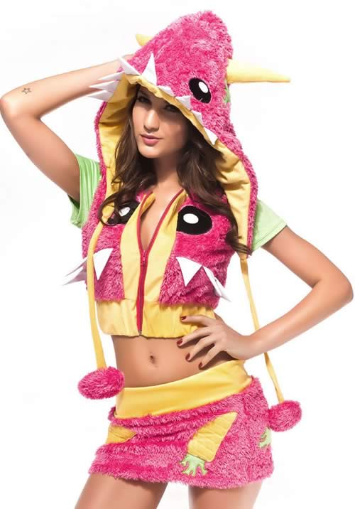 Halloween Pink Monster Costumes with Animal Cosplay