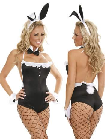 Girl Next Door Bunny Costume in Black-White