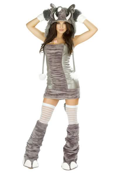 Silver Gray Adult Elephant Halloween Costume for Women
