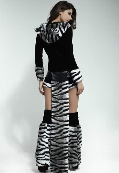 Deluxe Women White Tiger Animal Costume