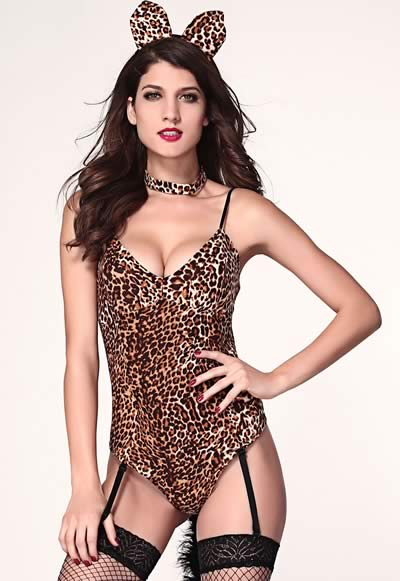 Women Leopard Kitty Teddy Cosplay Costume