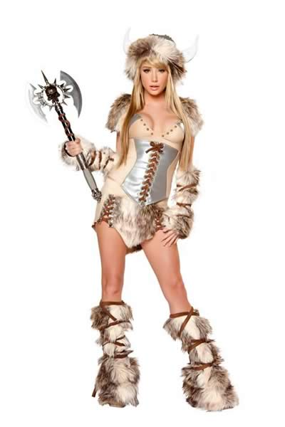 Deluxe Women Halloween Viking Costume Animal Cosplay Set