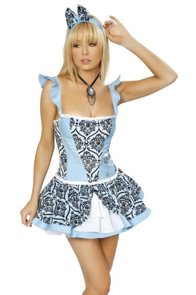 Halloween Women Blue Lace Alice Cat Costume