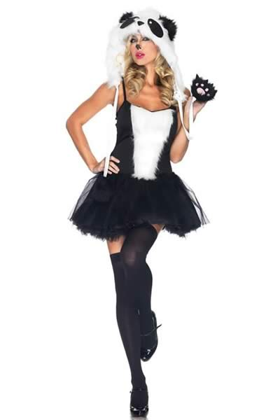 Women Playful Panda Costume in Black White