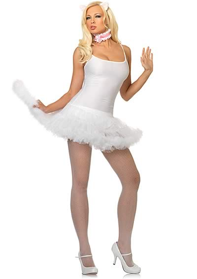 Cosplay Animal White Kitty Cat Costume for Women