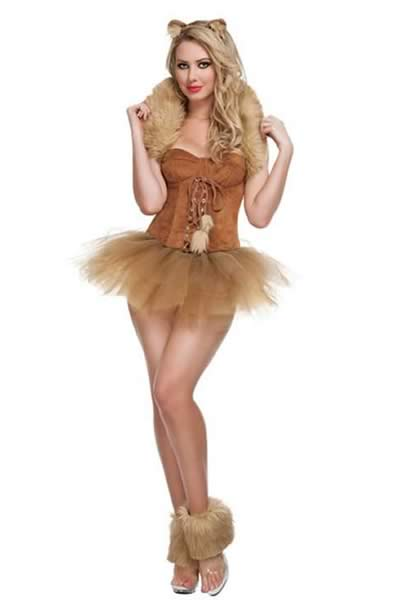 Newest Brown Cat Costume with Single Tulle Lace Dress