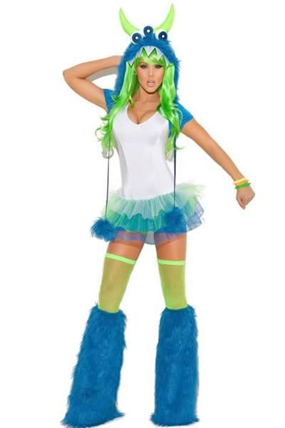 Halloween Gremlins Monster High Costume in Blue-White
