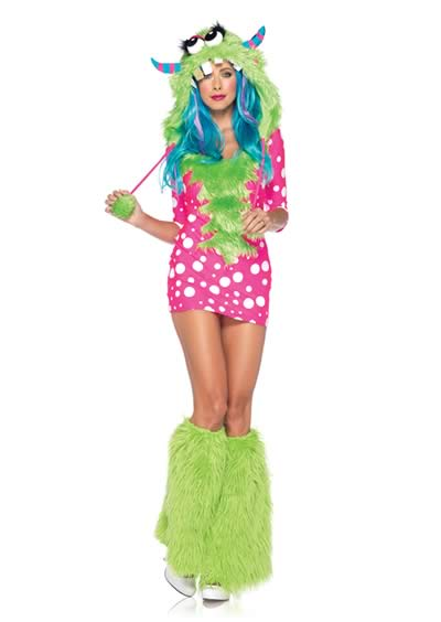 Women Gremlins Monster Halloween Costume in Green-Pink