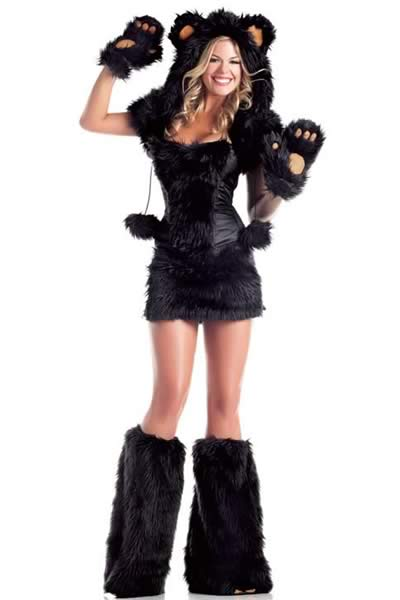 Women Furry Monster Bear Costume in Black