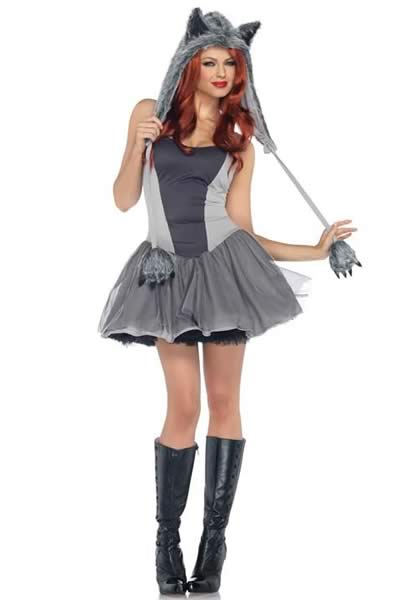 Gorgeous Women Gray Wolf Halloween Costume