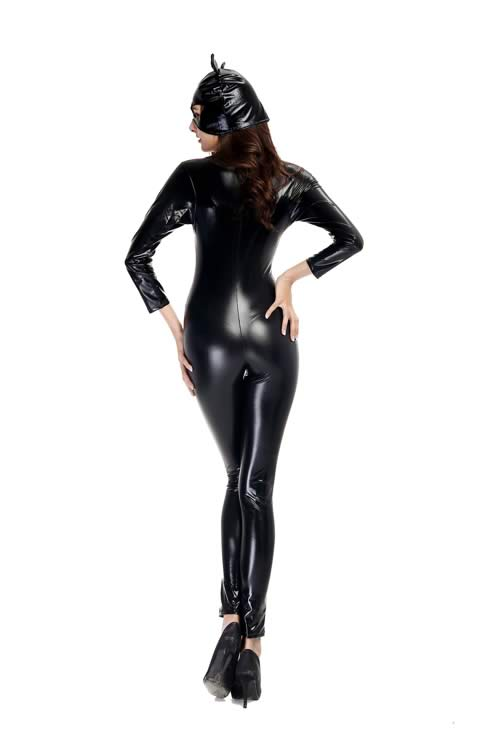 Wet Look Black Cat Halloween Costume for Women