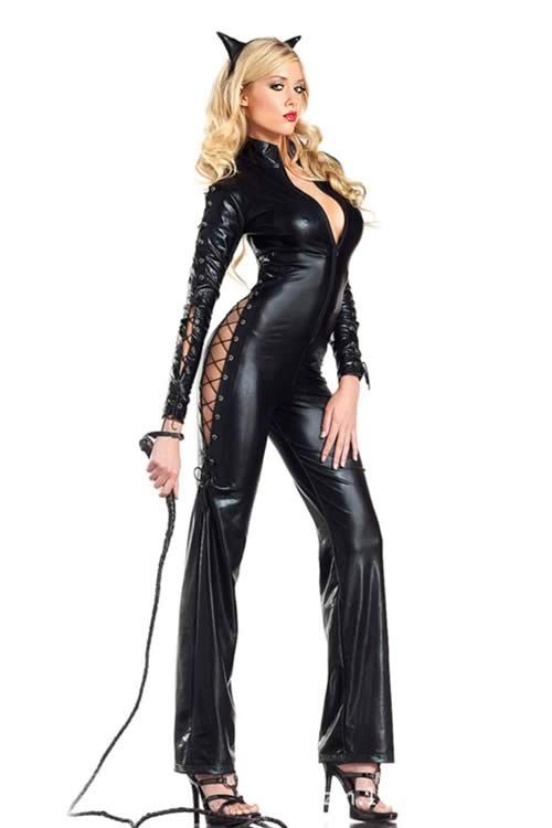 Lace Up Kitty Cat Woman Costume with Ears