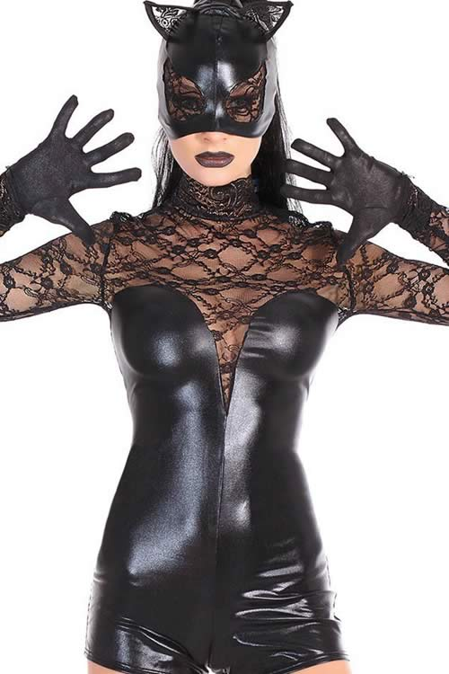 Cosplay Black Lace Cat Costume for Women