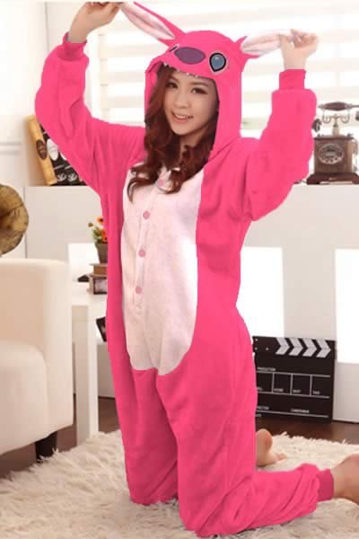 Cute Women Kangaroo Onesies Pajamas in Pink