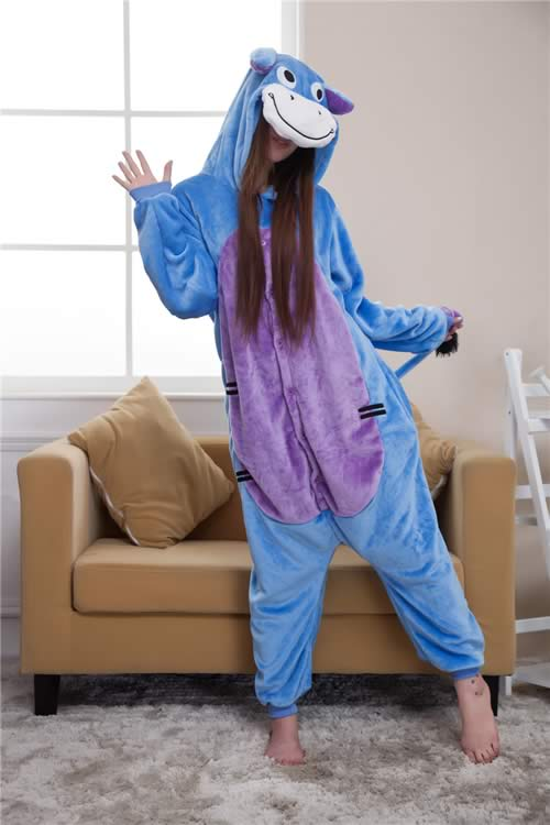 Women Donkey Onesies Pajamas in Blue