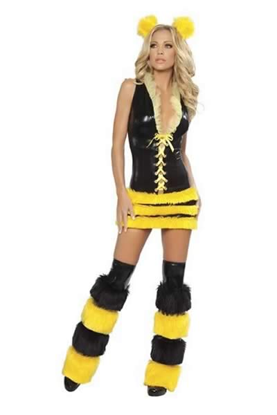Queen Bee Halloween Costume in Black-Yellow