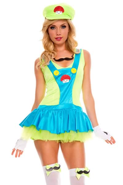Super Mario Plumber Dress Costume in Green