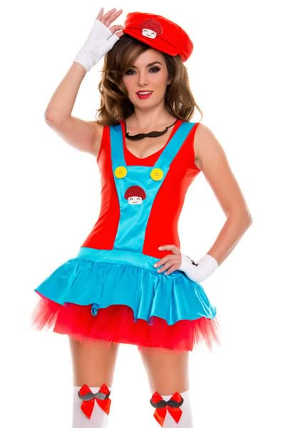 Super Mario Plumber Dress Costume in Red