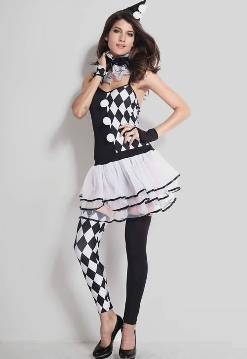 Halloween Harlequin Clown Costume in Black White