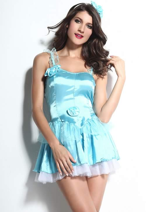 Cute Cinderella Dress Fairy Tale Costume in Blue