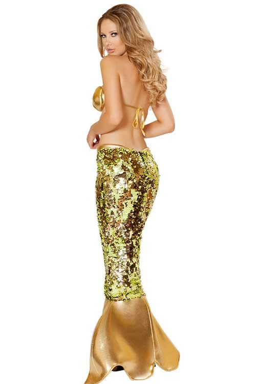 Adult Sequin Mermaid Halloween Costume in Green Gold