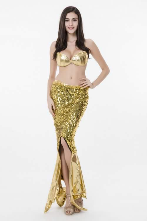 Halloween Womens Metallic Mermaid Princess?Costume in Gold