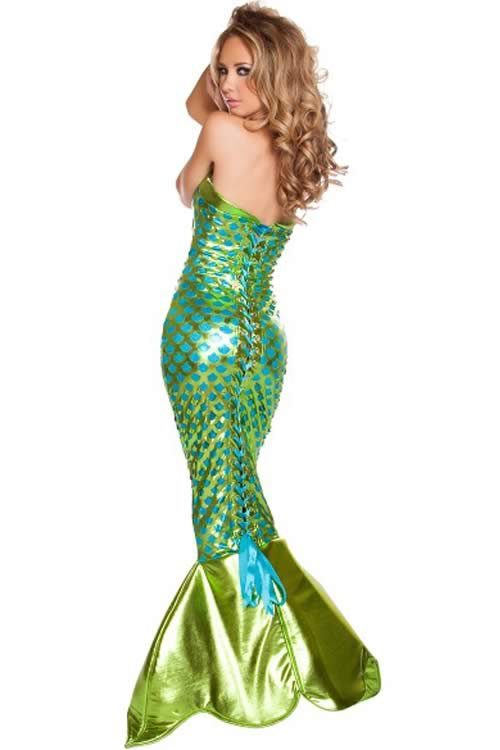 Sexy Womens Halloween Mermaid Costume in Green