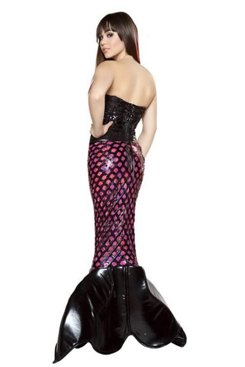 Sexy Womens Adult Halloween Mermaid Costume in Black Red