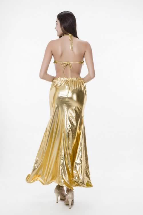 Womens Sequin Bra Mermaid Dress Cosplay Costume in Gold