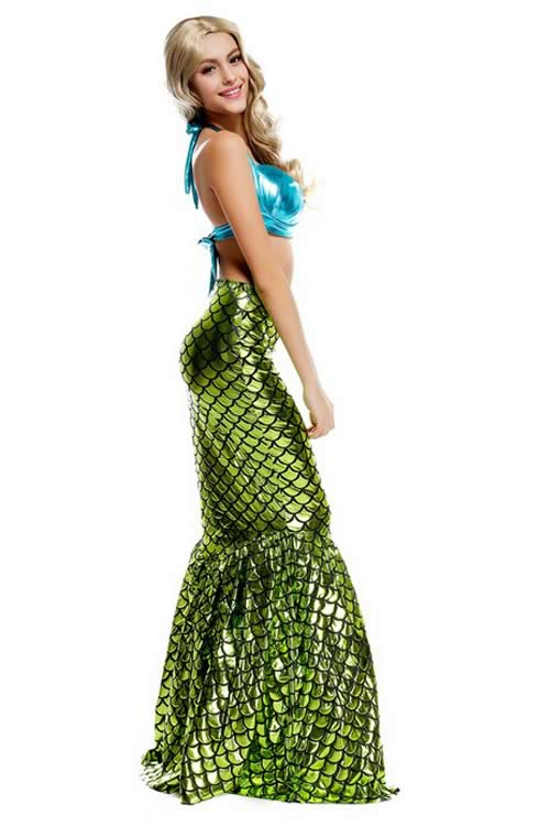 Womens Sea Mermaid Fancy Dress Party Costume in Blue Dark Green
