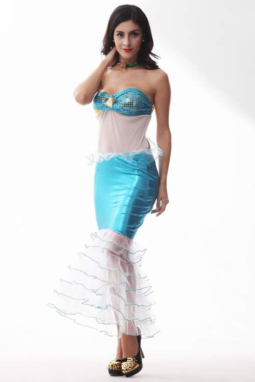 Sexy Womens Fancy Princess Mermaid Costume in Blue