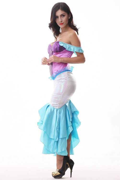 Womens Sequin Halloween Mermaid Costume Gown