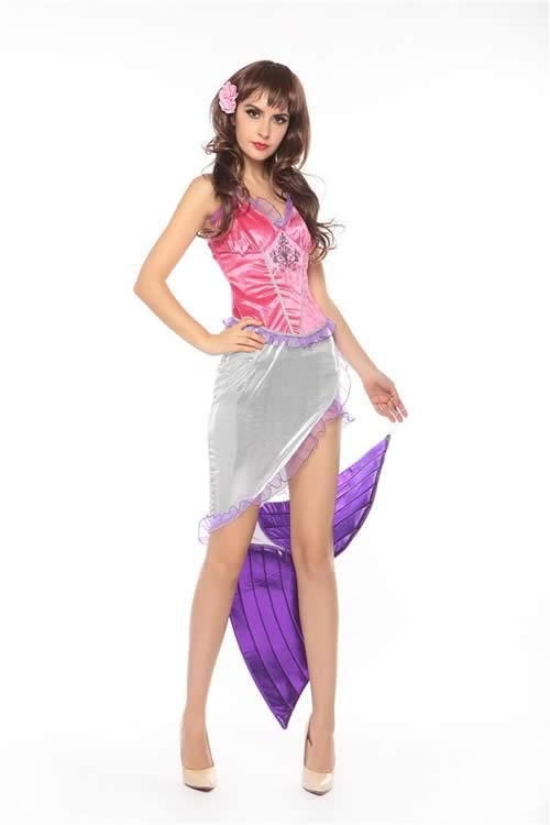 Sexy Halloween Sea Mermaid Princess Costume in Pink Purple