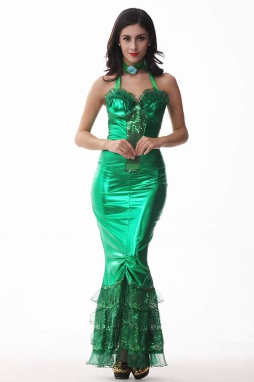 Sexy Adult Halloween Mermaid Costume Dress in Green