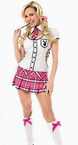 Halloween Complete School Girl Costume in Pink-White
