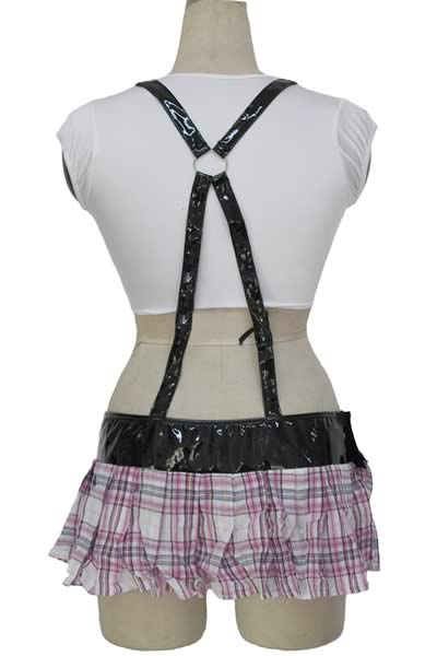 Halloween High School Girl Costume with Pleated Suspender Skirt