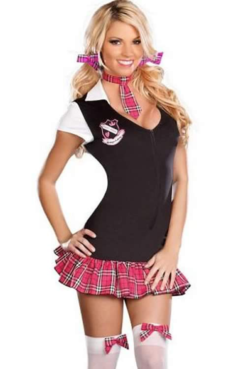 Secretary School Girl Costume with Plaid Skirt