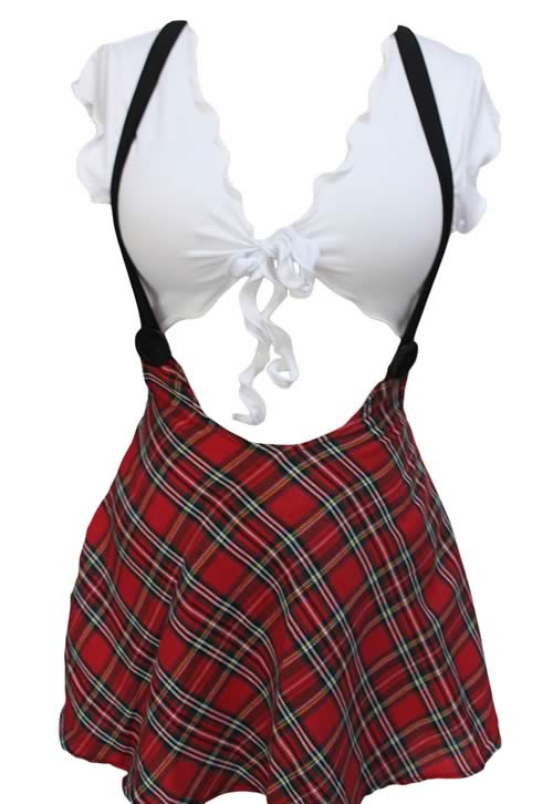 Study Partner School Girl Costume with High Waisted Skirt
