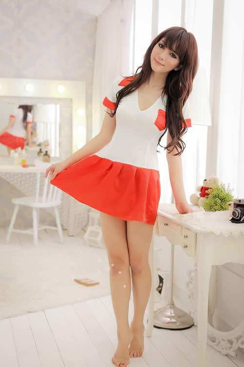 Halloween Cute Orange School Girl Costume for Cosplay