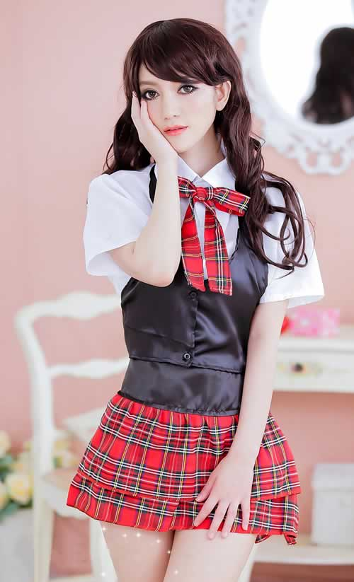 Noble Office School Girl Halloween Costume in Black and Red