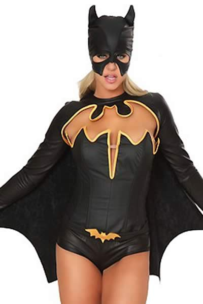 Women Batman Hero Halloween Costume in Black