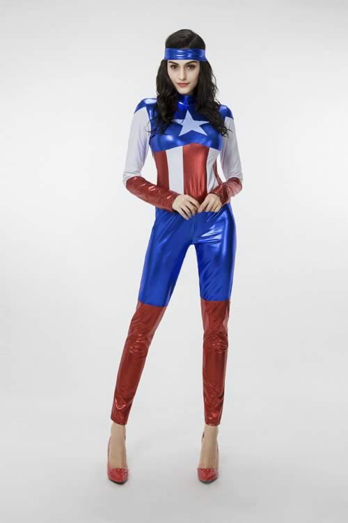 Halloween Deluxe Women Captain America Jumpsuit Costume