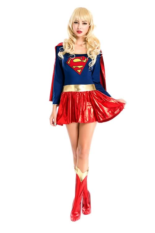 Superhero Heroine Supergirl Costume in Red