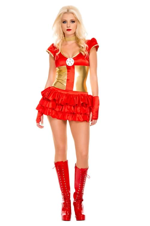 Cosplay Superhero Women Iron Man Costume in Red