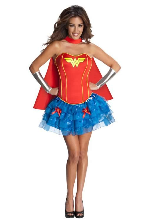 Red Superhero Wonder Woman Corset Costume