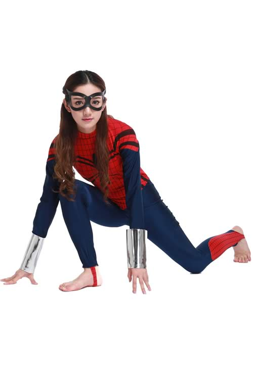 Women Superhero Spider Halloween Costume in Dark Blue