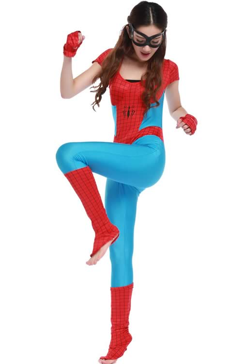 Sexy Halloween Women Spider Costume in Light Blue