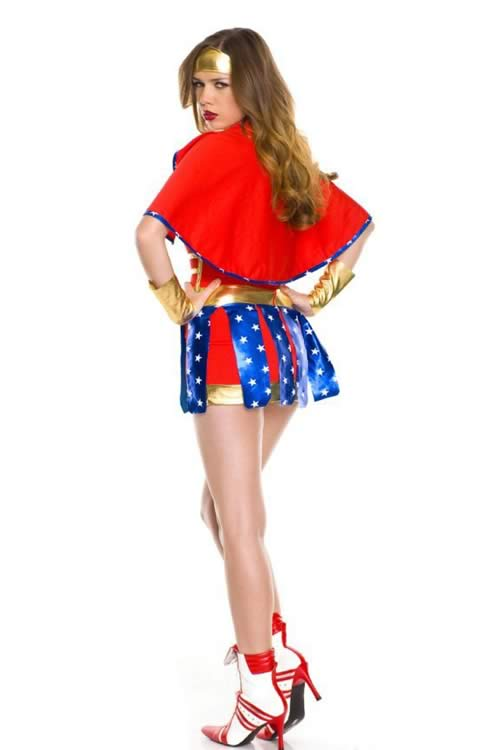 Halloween Sexy Wonder Woman Superhero Costume in Red